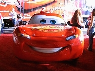 Life-sized Lightning McQueen replica smiles after the successful CARS premiere.