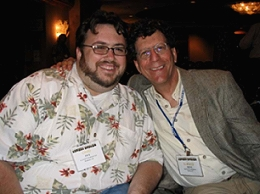 Animator Chad Frye (left) meets and greets commercial artist Elwood Smith.