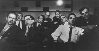 Disney's Nine Old Men: (from left to right, top to bottom) Milt Kahl, Marc Davis, Frank Thomas, Eric Larson, Ollie Johnston, John Lounsbery, Ward Kimball, Les Clark and  Wolfgang Reitherman (Image from unofficial Disney Legends fansite)