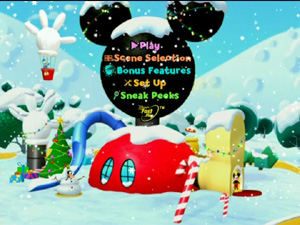 the menus are classily done with the main menu being especially attractive with snow falling down over a scene at the clubhouse and the figures in the - Mickey Mouse Clubhouse Christmas