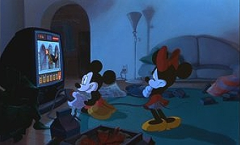 Mickey Mouse obsesses over video games, while Minnie reminds him of their anniversary.