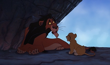 Scar, animated by Andreas Deja, tricks Simba into a trap.