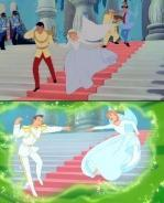 Comparison between a scene from CINDERELLA and its re-animated version in CINDERELLA III