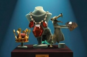 Scrat at 'the jewelry store or the museum display' in NO TIME FOR NUTS