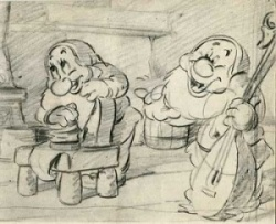 Bashful and Happy, as seen in SNOW WHITE AND THE SEVEN DWARFS