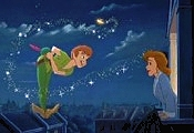 Peter Pan reunites with Wendy, in RETURN TO NEVERLAND
