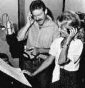 With John Debney nearby, Beaumont records her lines for the '80s revision of Fantasyland's ALICE IN WONDERLAND.