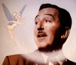 Walt Disney gazes upon Tinker Bell, in the PAN Platinum Edition feature 'You Can Fly: The Making of PETER PAN.'