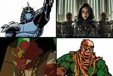 Shredder (top, left), Karai and Foot Ninjas (top, left), Triceraton (bottom, left), Rat King (bottom, right)