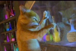 Puss cuts a perfect circle in glass, in SHREK 2