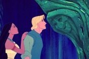 Pocahontas and John Smith chat with Grandmother Willow, in POCAHONTAS