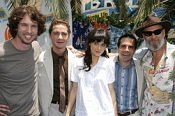 Jon Heder, Shia LaBeouf, Zooey Deschanel, Mario Cantone and Jeff Bridges at the SURF'S UP premiere