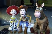 Jessie, Woody and Bullseye watch WOODY'S ROUNDUP, in TOY STORY 2