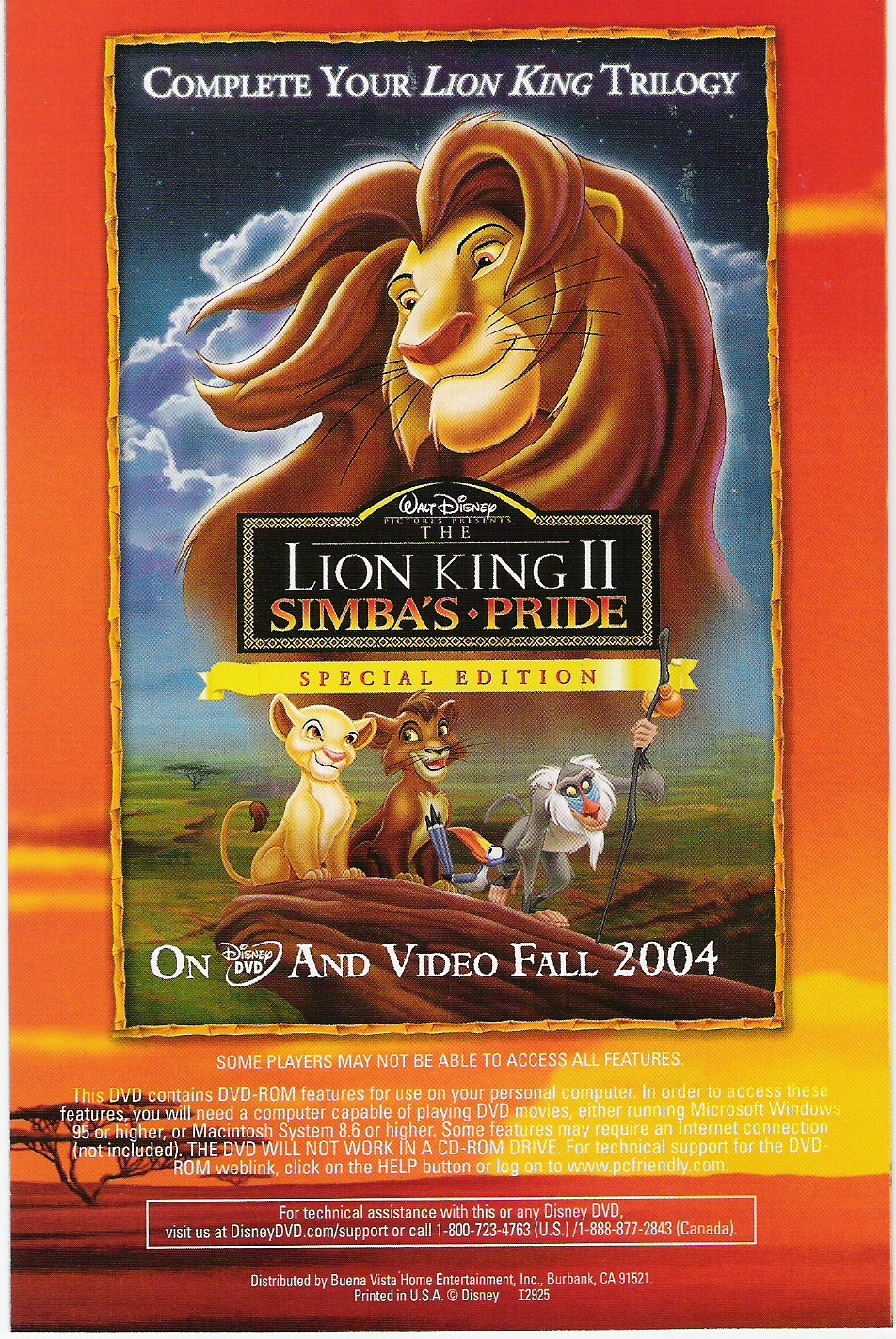 Lion King Ii Special Edition Dvd Cover Art Now Available Animated Views