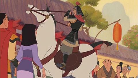 Mulan and Shang await their wild honeymoon stallion