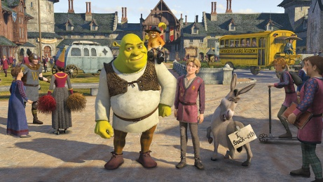 Shrek, Puss in Boots, Artie and Donkey in SHREK THE THIRD