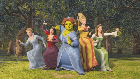 Princesses Cinderella, Snow White, Fiona, Rapunzel and Sleeping Beauty from SHREK THE THIRD